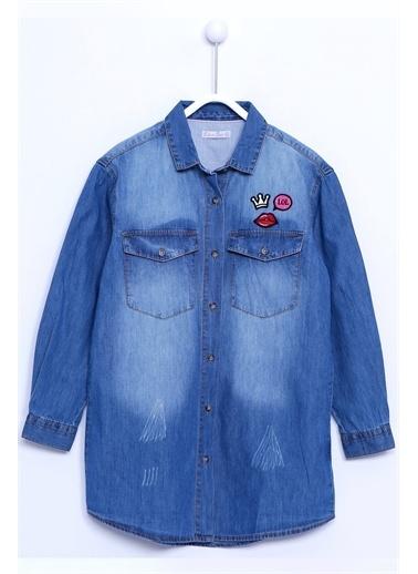 Silversun Kids Denim Kot Gömlek Denim Uzun Kollu Armalı Tunik Gömlek Kız Çocuk Gc 310309 Mavi